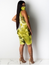 Slim Fitted Sleeveless Mixed Color Tie Dye Two Piece Set