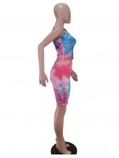 Colorful U Neck Skinny Tie Dye Two Piece Set