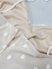 Polka Dot Ruffled Hem Short Sleeveless Dress