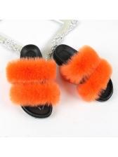 Solid Faux Fur Women Open Toe Slippers