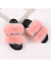 Simple Solid Fluffy Ladies Indoor Slippers