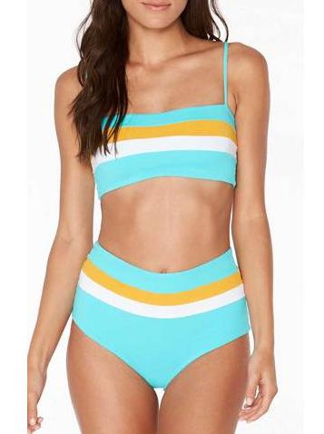 Boat Neck Contrast Color Stripes 2 Piece Swimsuit