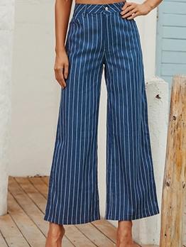 OL Style Striped Women Wide Leg Pants