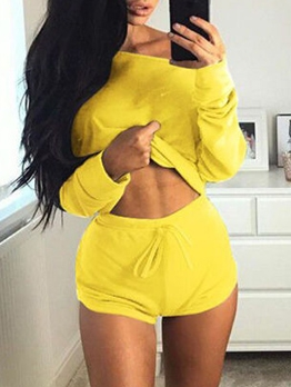 Off Shoulder Solid Long Sleeve Loungewear 2 Piece Set