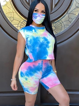 Tie Dye Without Mask Two Piece Short Set