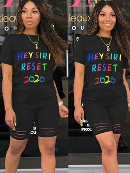 Multicolored Letter Leisure Wear 2 Piece Shorts Set
