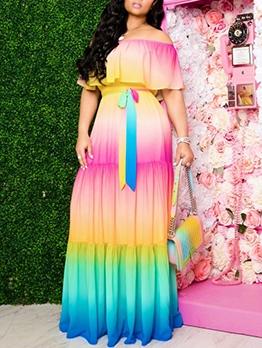 Fashion Tie Dye Off The Shoulder Maxi Dress