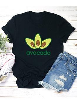 Simple Avocado Print Short Sleeve Cheap T Shirts