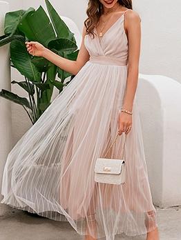 Organza Solid Slip Summer Maxi Dresses