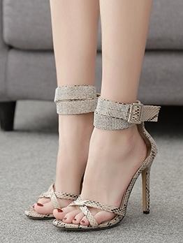 Stylish Snake Skin Printed Womens Sandals