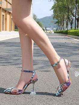 Snake Skin Printed Pointed Toe Rhinestone Heels