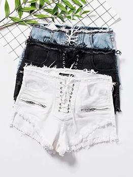 Rough Edges Lace-Up Solid Denim Hot Shorts