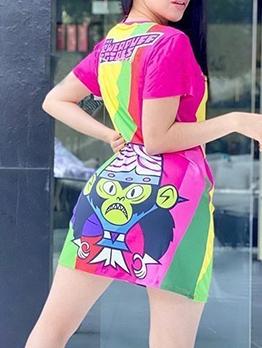 Multi-colors Cartoon Print Short Sleeve T Shirt Dress