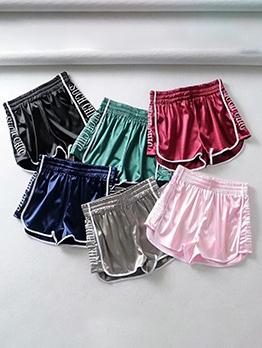 Elastic Waist Embroidered Letter Sport Wear Short Pants