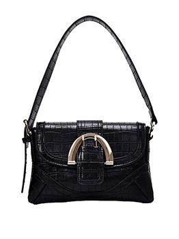 Metal Buckle Stone Grain Solid Handbags For Women