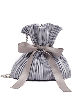 Pleated Design Bowknot Ribbon Chain Crossbody Bags