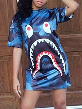 Digital Print Short Sleeve T Shirt Dress