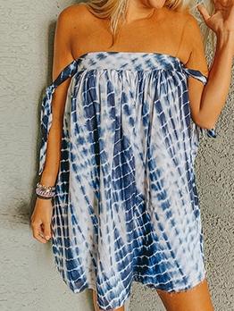 Tie Dye Loose Tied Strapless Dress