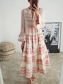 Geometric Print Flare Sleeve Summer Maxi Dresses