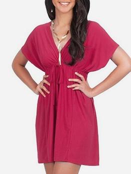 Loose V-neck Tie Wrap Maternity Dresses For Pregnancy