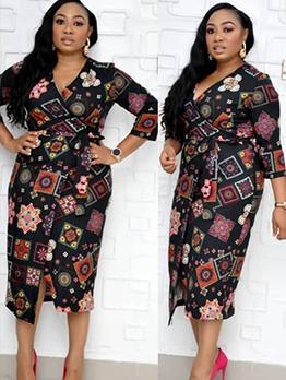 Retro Geometric Printed Long Sleeve Dress
