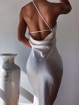 Solid One Shoulder Backless Sleeveless Dress