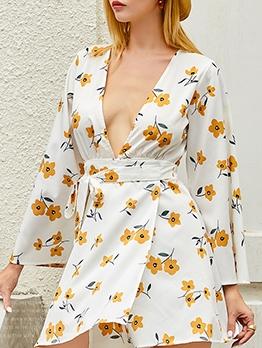 Deep V Neck Flower Pattern Long Sleeve Dress