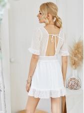 Square Collar Swiss Dots White Short Sleeve Dress