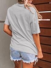 Leopard Lips Print Loose Short Sleeve Tee Shirt