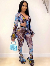 Sexy Long Sleeve Printed Two Piece Pants Set