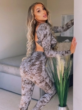 Printed Backless Long Sleeve Two Piece Pants Set