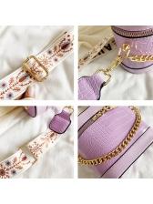 Printed Belt Crocodile Print Double Zipper Shoulder Bags