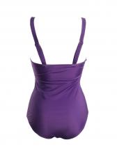 Gradient Color V Neck Oversized One Piece Swimwear