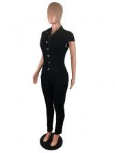 Solid Cap Sleeve Button Up Denim Jumpsuit