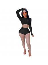 Sexy Long Sleeve Gauze Two Piece Short Set