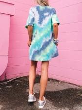 Tie Dye Loose Short Sleeve Casual Dresses