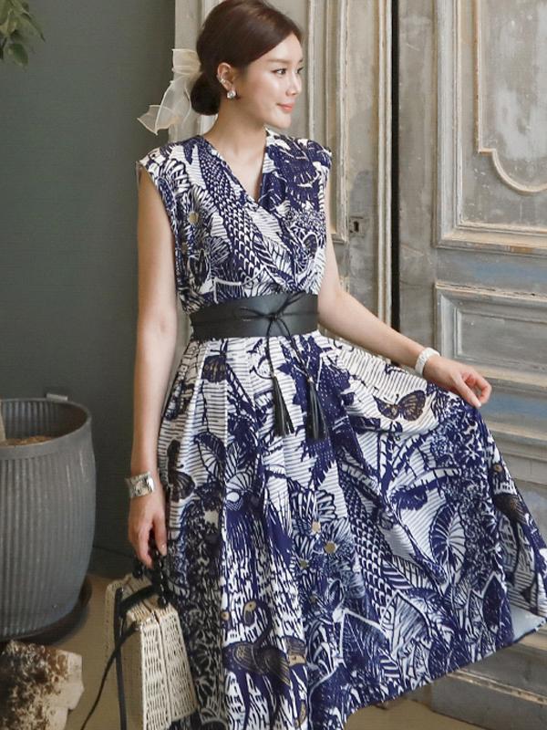 Stylish Printed Belted Ladies Dress
