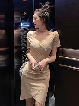 Elegant Solid v Neck Short Sleeve Dress
