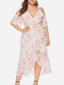 Cold Shoulder Floral V Neck Plus Size Wrap Dresses
