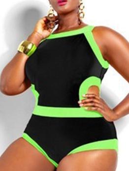 Plus Size Contrast Color Cut Out One Piece Swimwear