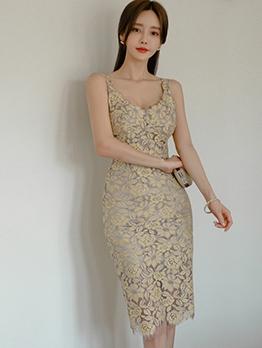 Graceful v Neck Lace Sleeveless Knee Length Dress
