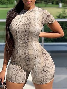 Snake Print Short Sleeve Bodycon Romper