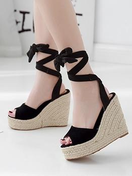 Pee Toe High Platform Wedge Sandals