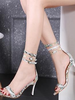 Snake Skin Printed Pointed Toe Summer Sandals