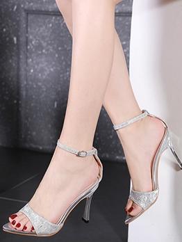 Glitter Pointed Toe High Heel Summer Sandals