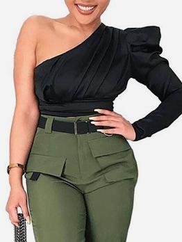 Single Sleeve Inclined Shoulder Black Ladies Blouse