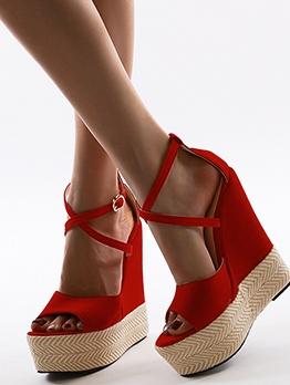 Contrast Color Patchwork Summer Wedge Sandals