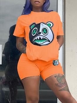 Summer Cartoon Bear Short Sleeve Tee With Shorts