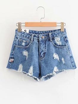 Hot Sale High Waist Women Ripped Denim Shorts