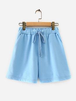 Plain Blue Drawstring Casual Wear Short Pants